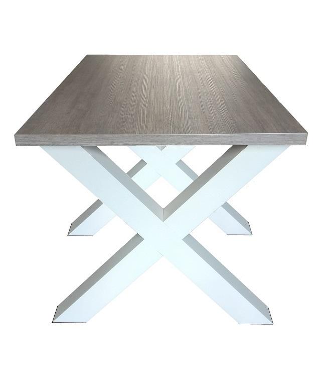 Eettafel Modern Wit.Eettafel Milaan Grijs Eiken Wit Kruispoot 90 X 140 Cm