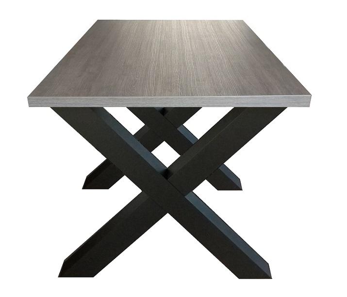 Zwarte Eetkamer Tafel.Eettafel Milaan Grijs Eiken Zwart Kruispoot 90 X 160 Cm