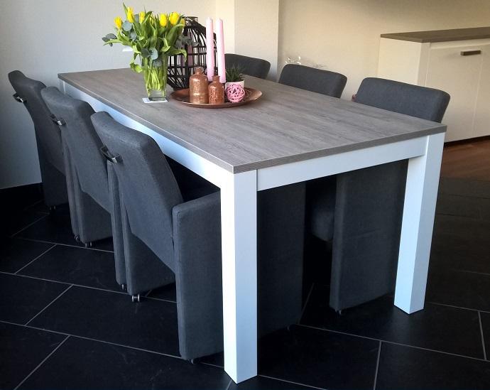 Eettafel Modern Wit.Eettafel Milaan Grijs Eiken Wit Standaard 90 X 180 Cm